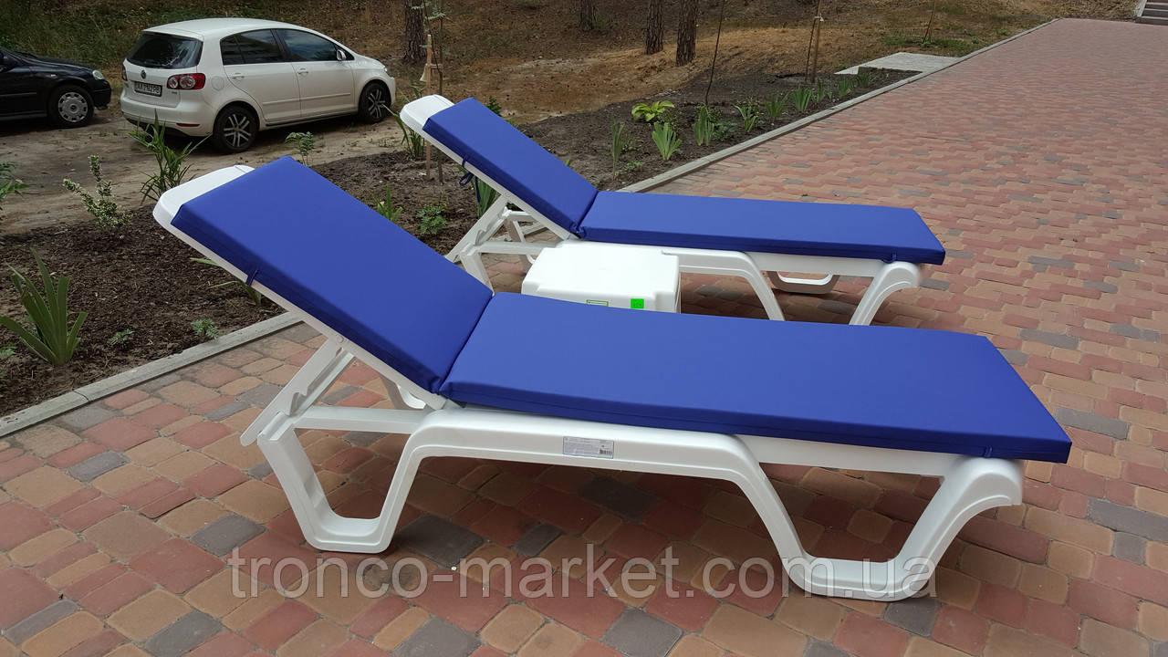 Пляжный набор на 2 : шезлонг + матрас Окфорд 5см Синий+ столик