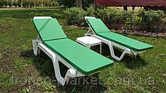 Пляжный набор на 2 : шезлонг + матрас Окфорд 5см Синий+ столик, фото 2