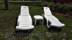 Пляжный набор на 2 : шезлонг + матрас Окфорд 5см Синий+ столик, фото 3