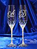 Свадебные бокалы с инициалами в стразах (Тюльпаны)