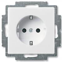 Розетка с заземлением и шторками, белый - Abb Basic 55