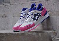 Женские кроссовки Asics Gel Lyte (Асикс Гель Лайт) Серые с розовым разм 40
