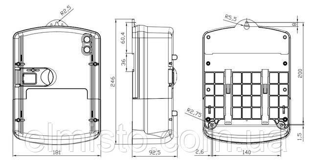 Габаритные и установочные размерысчетчика электроэнергииNIK 2303 ARP6.1202.MC.11 с RS 485