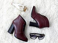 Женские кожаные ботинки классика на шнурках и каблуке