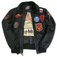 Бомбер Top Gun Official B-15 Men's Flight Bomber Jacket With Patches TGJ1542P (Black), фото 1