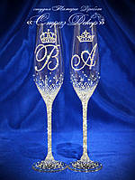 Свадебные бокалы с инициалами и коронами в стразах (Тюльпаны)