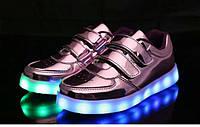 Детские светящиеся LED кроссовки 25-33 рр! Розовые
