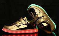 Детские светящиеся LED кроссовки 25-33 рр! Золотистые