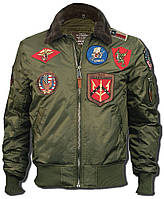 Бомбер Top Gun Official B-15 Flight Bomber Jacket with Patches (оливковый), фото 1
