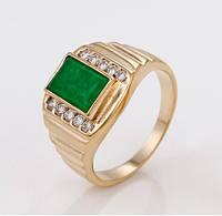 Кольцо Перстень Позолота 18к с зеленой вставкой Размер 18,19,20,21