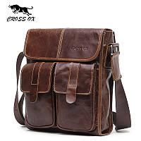 Мужская сумка из натуральной кожи CROSS  (коричневая)