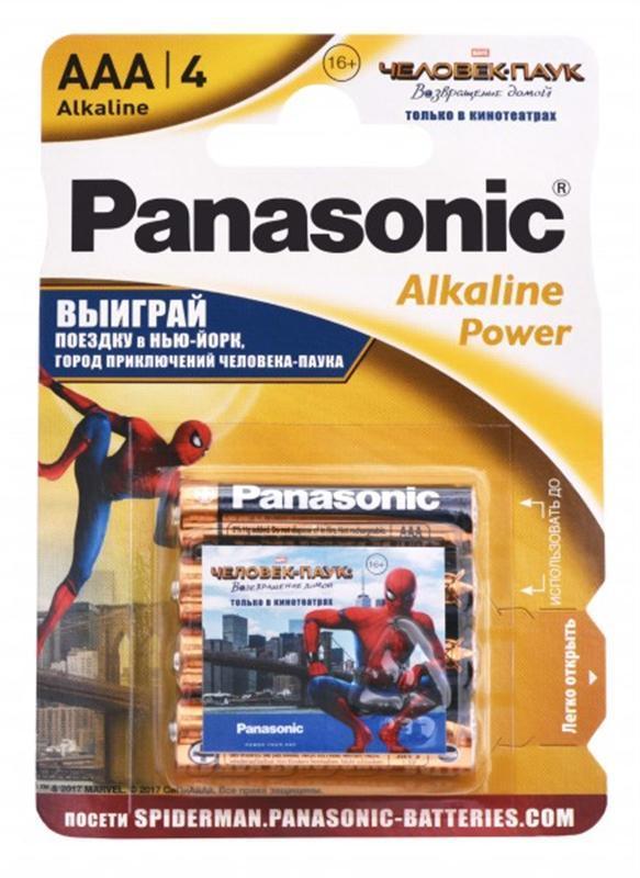 Батарейка Panasonic Alkaline Power Sticker Spider Man AAA/LR03 BL 4 шт - Интернет-магазин Kobra в Харькове