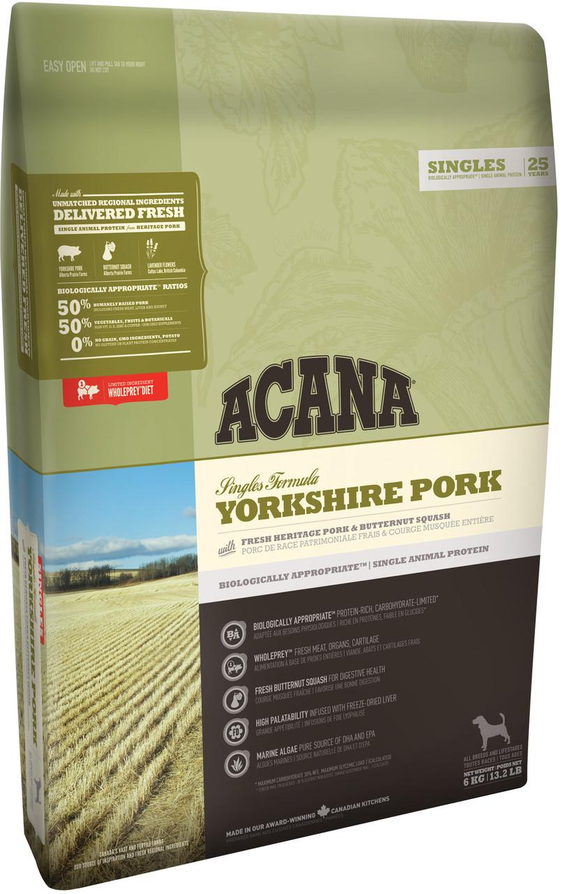 Acana Yorkshire Pork 6 кг акана для собак всех пород и возрастов, со свининой