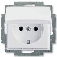 Розетка с заземлением и крышкой, белый - Abb Basic 55