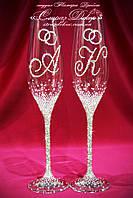 Свадебные бокалы с инициалами и кольцами в стразах (Тюльпаны)