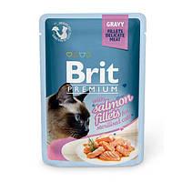 Brit Premium Salmon fillets in Gravy паучи для стерилизованных кошек с кусочками филе лосося в соусе, 85г