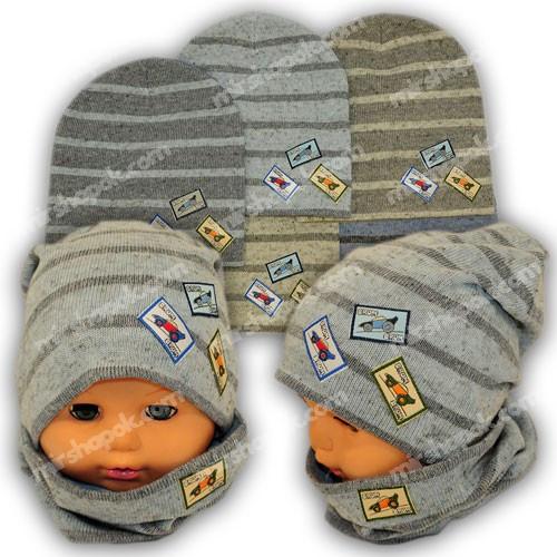 Вязаная шапка с хомутом для мальчика, KY2B