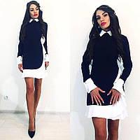 Платье школьное черное,белый воротник, платье белый низ платья, платье школьное, платье в школу, платье офисно