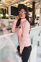 Женская куртка-бомбер материал итальянская эко кожа, цвет розовый