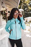 Женская куртка-бомбер материал итальянская эко кожа, цвет голубой