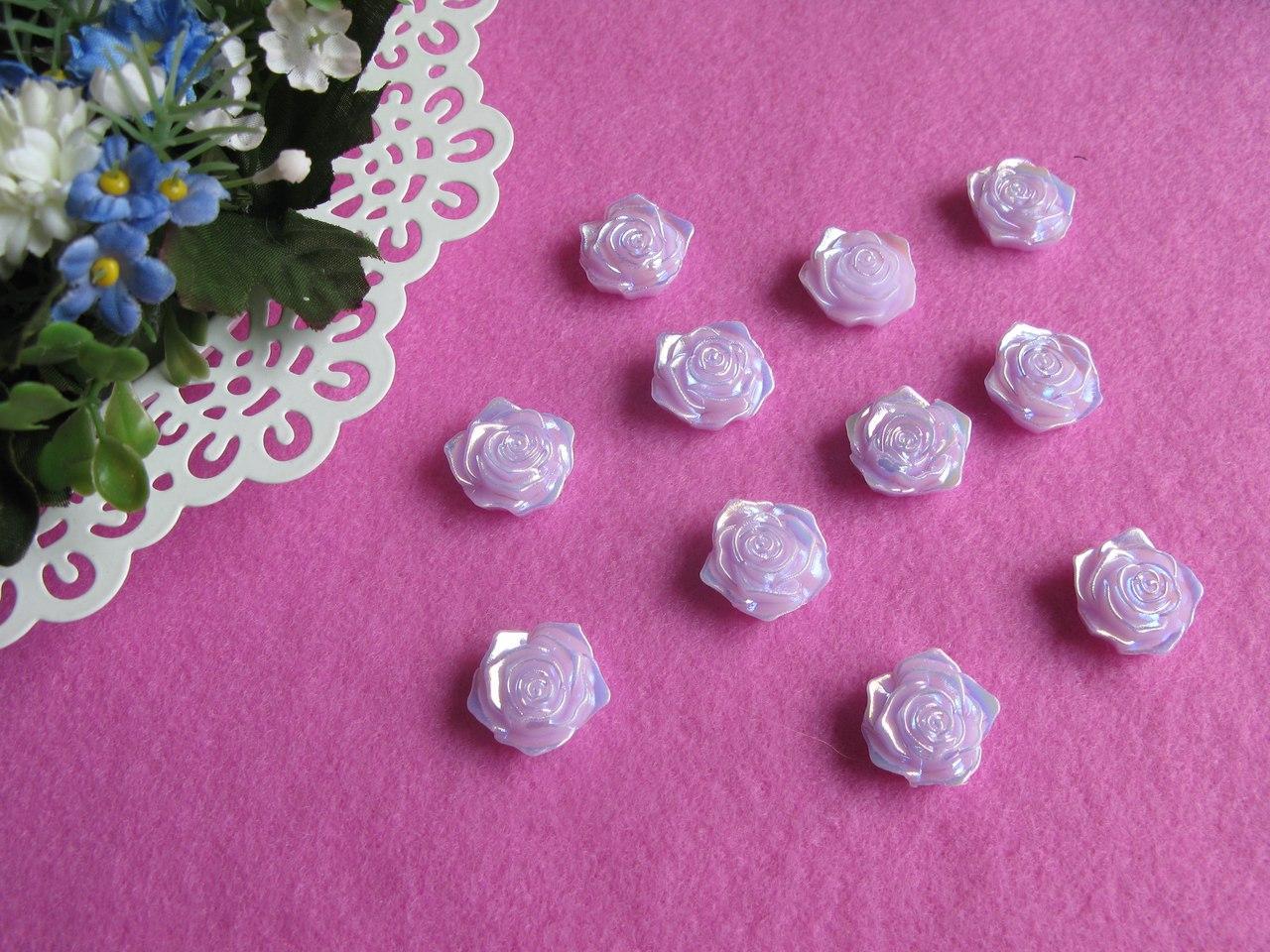 Серединка акриловая - Сиреневая роза с перламутром  р-р -19 мм цена 2 грн - 1 шт