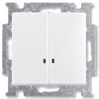 Вимикач 2-клавішний з підсвіткою, білий - Abb Basic 55