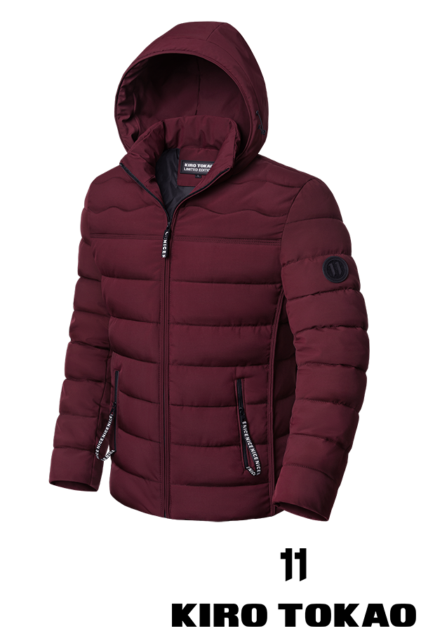 Стильная мужская зимняя куртка бордового цвета (р. 48-56) арт. 8805А