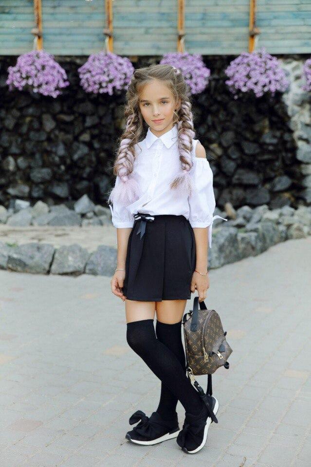 """Школьная детская рубашка для девочки """"Вилина"""" с вырезами на плечах (2 цвета)"""