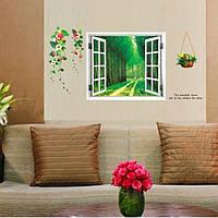 """Наклейка на стену, виниловые наклейки """"Окно в лес с цветами"""" 60см*120см (лист60*90см)"""