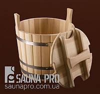 Запарник дубовый с крышкой 25л (40*30 см), Saunapro