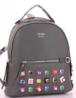 Женский городской рюкзак FENDI 80995 зеленый Брендовые женские рюкзаки купить недорого