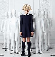 Модное школьное платье темно-синего цвета с белым воротником
