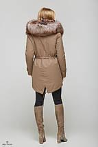 Женская зимняя куртка-парка с мехом чернобурки, фото 3