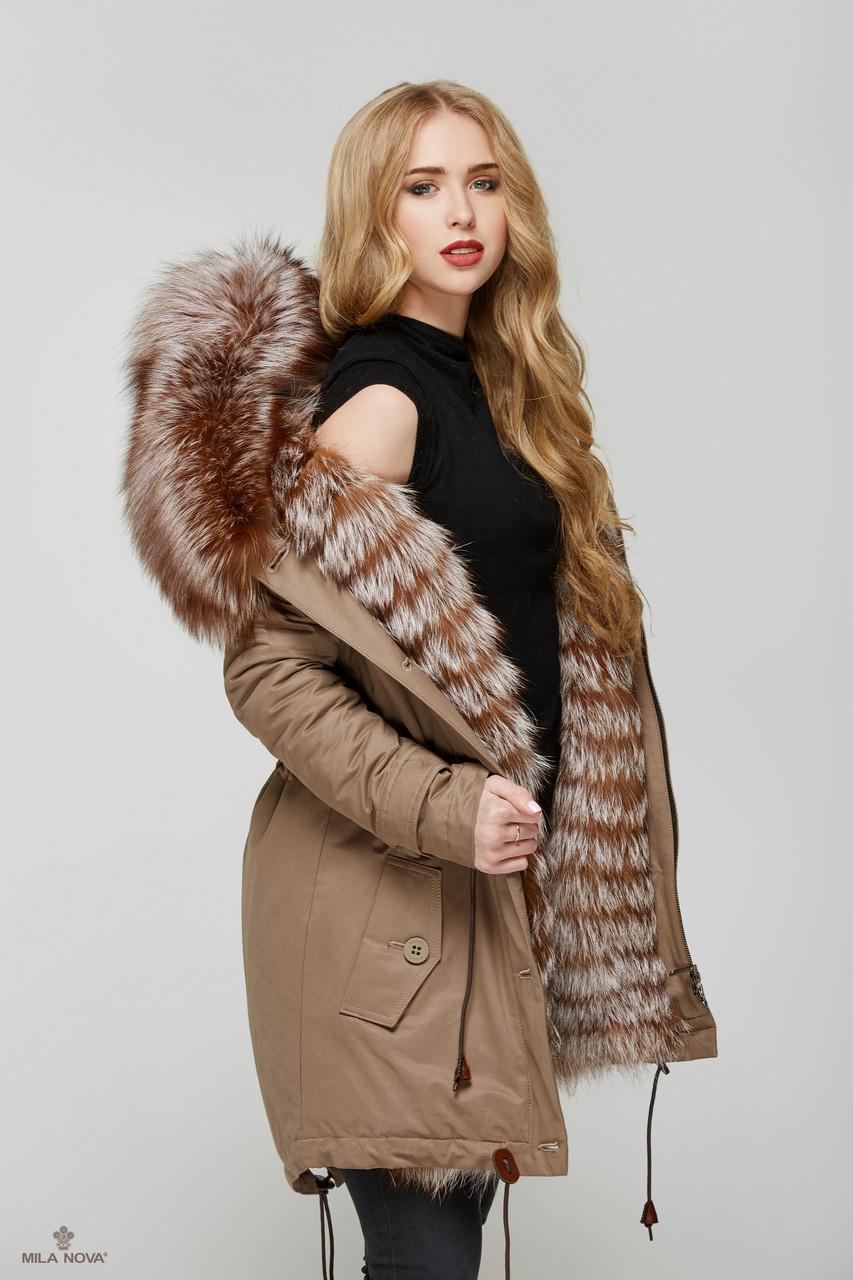 Женская зимняя куртка-парка с мехом чернобурки