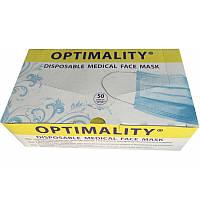 Маски трехслойные на резинках, медицинские (Optimality), 50шт./упак.