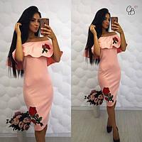 Женское платье-майка с аппликацией персик