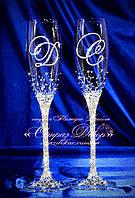 Свадебные бокалы с инициалами в стразах (Леонардо), фото 1