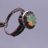 Кольцо с эфиопским опалом и дымчатым кварцем (раухтопазом) Размер 18.85