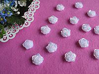Серединка акриловая - Роза белая с перламутром  р-р -19 мм. цена 2 грн - 1 шт