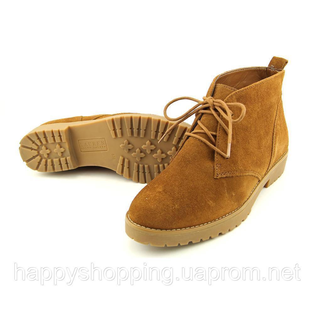 Женские замшевые  коричневые демисезонные  ботинки Ralph Lauren Ральф Лорен оригинал