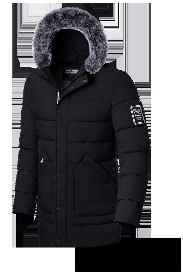 Длинная мужская зимняя куртка черного цвета (р. 48-56) арт. 8802G