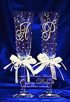 Свадебные бокалы с инициалами в стразах (Колокольчики), фото 1