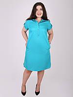 Платье с планкой и пуговицами - 1057-1