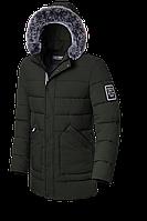 Длинная мужская зимняя куртка темно-зеленого цвета (р. 48-56) арт. 8802А
