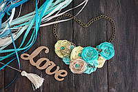 Колье ожерелье из шифоновых и льняных цветов - Мятно-Лимонное