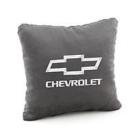 Подушка с лого Chevrolet тёмно серый флок_склад