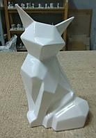 Статуэтка глянцевая керамическая белая Лисичка.