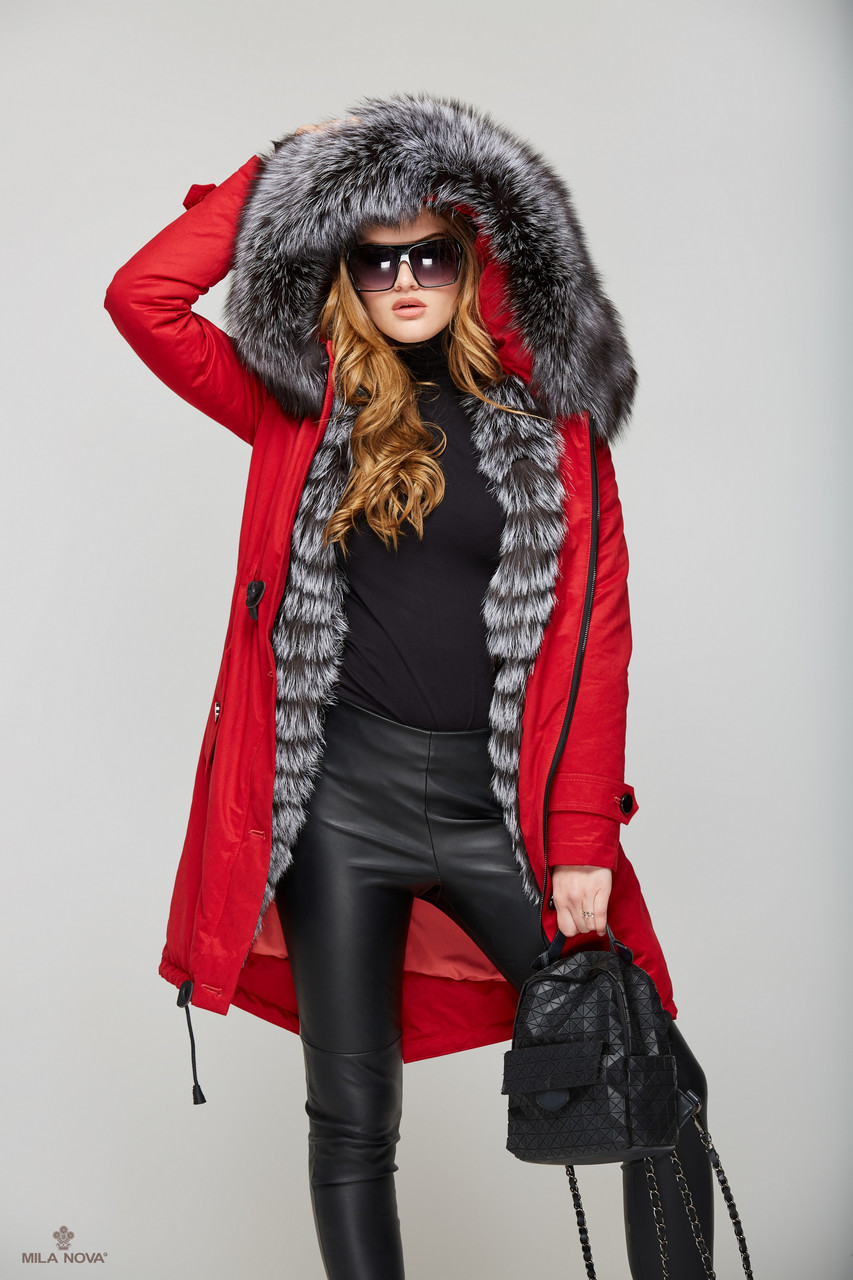 Зимняя куртка-парка с мехом чернобурки и несъёмным капюшоном