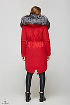 Зимняя куртка-парка с мехом чернобурки и несъёмным капюшоном, фото 3