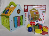 Развивающая деревянная игрушка сортер - стучалка Домик